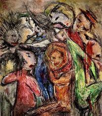 Freunde, Feier, Menschen, Malerei