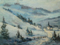 Weiß, Winter, Landschaft, Blau