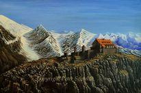 Rot schwarz, Acrylmalerei, Berge, Umwelt