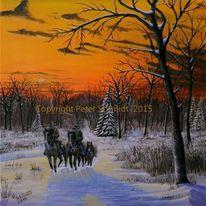 Acrylmalerei, Tiere, Sonnenuntergang, Gelb