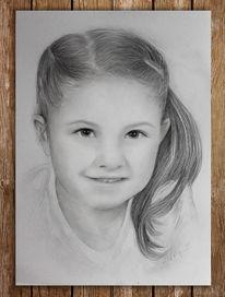 Portrait, Mädchen, Bleistiftzeichnung, Kind