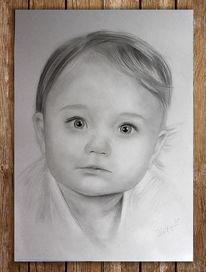 Bleistiftzeichnung, Mädchen, Zeichnung, Kopf
