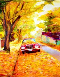 Herbst, Auto, Landschaft, Ambiente