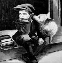 Hund, Schwarzweiß, Ambiente, Kind