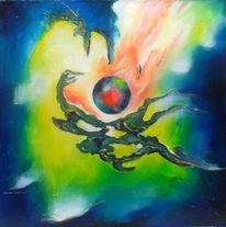 Dunkel, Feuer, Ölmalerei, Kugel