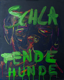 Ölmalerei, Bellen, Hund, Zeitgenössisch