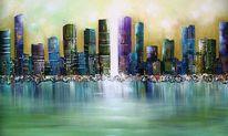 Stadt, 3d, Malerei, Modern