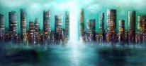 Skyline city, Malerei, Skyline