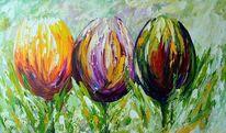 Abstrakt, Blumen, Grün, Tulpen