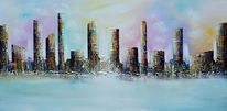 Skyline city, 3d, Modern painting original, Bunt