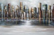 Modern, Skyline, Gemälde, Malerei
