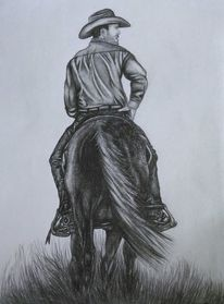 Reiter, Pferde, Bleistiftzeichnung, Steppe