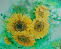 Natur, Gelb, Malerei, Sonnenblumen