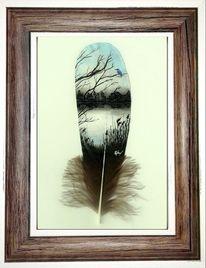 Feder, Eisvogel, Acrylmalerei, Winter