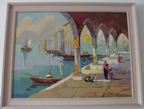 Gemälde, Italien, Öl gemälde, Landschaft venedig