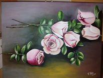 Blumen, Rose, Acrylmalerei, Malerei