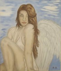 Frau, Acrylmalerei, Engelswolke, Engel