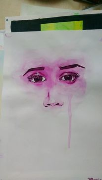 Frau, Gesicht, Augen, Pink