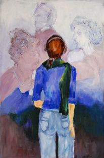 Menschen, Portrait, Blau, Malerei