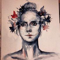 Portrait, Frühling, Aquarellmalerei, Frau