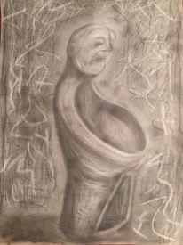 Hilflosigkeit, Symbol, Depression, Bleistiftzeichnung
