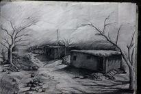 Dorf, Bleistiftzeichnung, Kurdisch, Geschichte