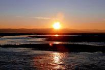 Berge, Wasser, Sonnenuntergang, Dämmerung