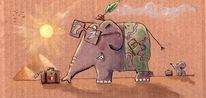 Elefant, Maus, Urlaub, Aquarellmalerei