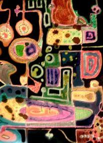Ölmalerei, Malerei, Bleistiftzeichnung, Abstrakt
