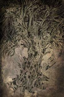 Pflanzen, Zeichnung, Federzeichnung, Zeichnungen