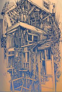 Haus, Zeichnung, Federzeichnung, Zeichnungen