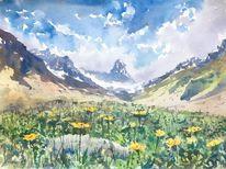 Aquarellmalerei, Alpen, Wiese, Sommer