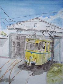 Straßenbahn, Technik, Depot, Himmel