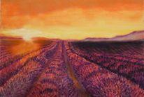 Abend, Landschaft, Sommer, Pastellmalerei