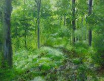 Wald, Landschaft, Malerei, Acrylmalerei