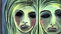 Portrait, Zeichnung, Abstrakt, Grün