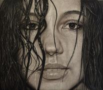 Portrait, Zeichnung, Frau, Menschen