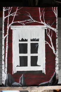 Acrylmalerei, Abstrakt, Surreal, Rot schwarz