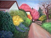 Ölmalerei, Landschaft, Malerei, Frühling
