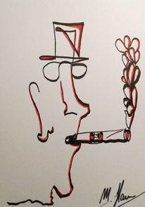 Zigarre, Rot schwarz, Malerei