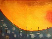 Himmel, Sonne, Sonnenuntergang, Malerei