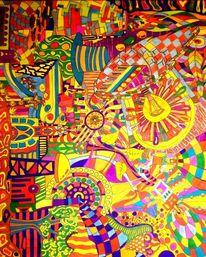 Bunt, Durcheinander, Fasermaler, Malerei