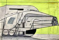 Acrylmalerei, Abstrakt, Technologie, Zeichnung