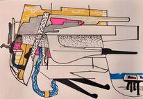 Zeichnung, Zeitgenössisch, Abstrakt, Technik