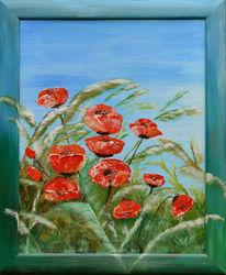Blau, Blumen, Rot, Natur