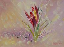 Ölmalerei, Flora, Blumen, Regen
