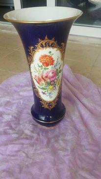 Antik, Vase, Blumen, Meißen porzellan
