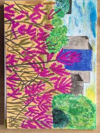 Sonne, Baum, Haus, Straße