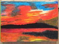 Himmel, Natur, Pastellmalerei, Rot