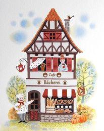Bäckerei, Illustration, Sommer, Aquarell